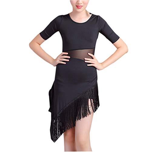 Nappa in Chiffon Abito da Ballo Latino - Costumi per Bambina Frangia Vestito Salsa Tango Abbigliamento Girocollo (Nero,140CM)