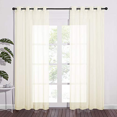 NICETOWN Living Room Sheer Curtains - Home Fashion Grommet Top Solid Voile Panels for Patio Door(1 Pair, W54 x L84, Cream Beige)