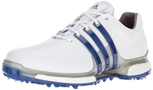 adidas Men's TOUR360 Boost 2.0 Golf Shoe, White/Royal/Silver Metallic, 8 UK