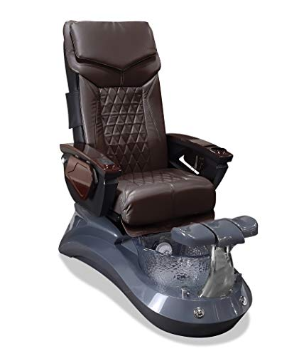 LOTUS II 18 LX Shiatsulogic Pedicure Chair Grey-Crystal w/Discharge Pump Stylish Pedicure Tub with Pipe-less Whirlpool System Perfect for All Pedicure Spa, Coffee