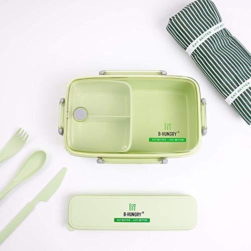 B-Hungry - Set Pranzo 2.0 - Supporta i senzatetto - Contenitore per Alimenti con Astuccio e Posate in Fibra di bambù e Pratica Borsa Termica in Alluminio - Alta qualità e Design Moderno