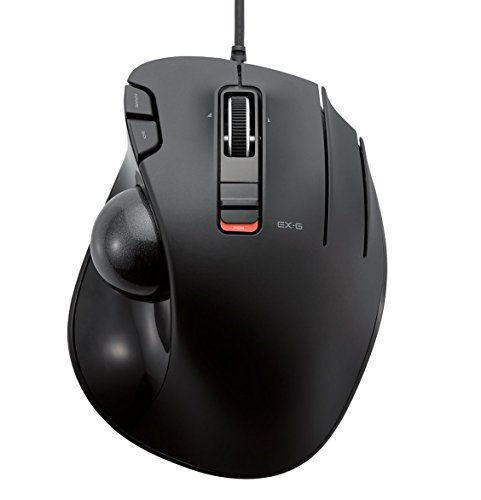 ELECOM-Japan Brand- Wired Trackball Mouse Thumb Operated Model, Ergonomic Grip, Tilt Function, 6 Buttons, Black/M-XT3URBK
