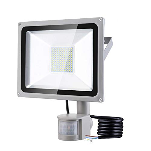 100W LED Strahler mit Bewegungsmelder, Wasserdicht IP65 LED Flutlicht Floodlight 10000LM 6500K Kaltes Weiß LED Scheinwerfer Außenbeleuchtung für Garten Garage Sportplatz [Energieklasse A +]