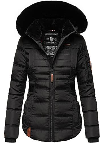 Navahoo Designer Damen Winter Jacke Steppjacke Winterjacke Stepp gesteppt B844 [B844-Melik-Schwarz-Gr.XL]