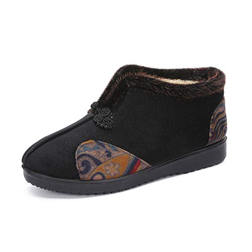 MNSSRN-MM Caliente grueso zapatos de vejez, suave, ligero y cómodo en los zapatos del algodón del invierno, además de terciopelo antideslizante de alta top de embarazo,Negro,37
