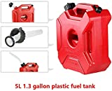 1.3 Gallon Gas Fuel Tank Can Gasoline Container Backup Petrol Fuel Storage Tank for Motorcycle SUV ATV Most Cars