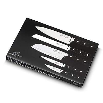 Sabatier Pluton 5 Piece Knife Set (9 cm Paring, 13 cm Utility, 18 cm Santoku, 20 cm Cooks, 20 cm Bread)