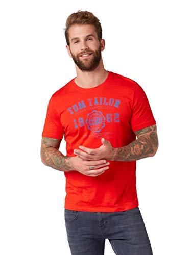 TOM TAILOR Herren Logo T-Shirt, Rot (Basic Red 13189), X-Large