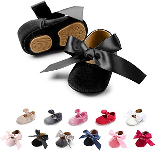 Tutoo Infant Baby Girls Mary Jane Shoes Soft Sole Ballet Slippers with Bow Princess Dress Wedding Shoes Newborn Crib Shoes First Walkers Shoes, A-black(velvet), 3-6 Months Infant