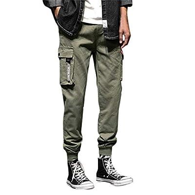 YKARITIANNA Men's New Fashion Casual Cotton Elastic Waist Multiple Pockets Loose Jeans Pants