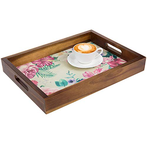 MyGift 16 Inch Elegant Acacia Wood ServingVanity Display Tray with Vintage Flower Floral Print and Wooden Handle