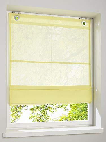 heine home Unifarbenes leicht transparentes Raffrollo gelb mit Haken und Ösen, Raffrollos:HxB 140/120