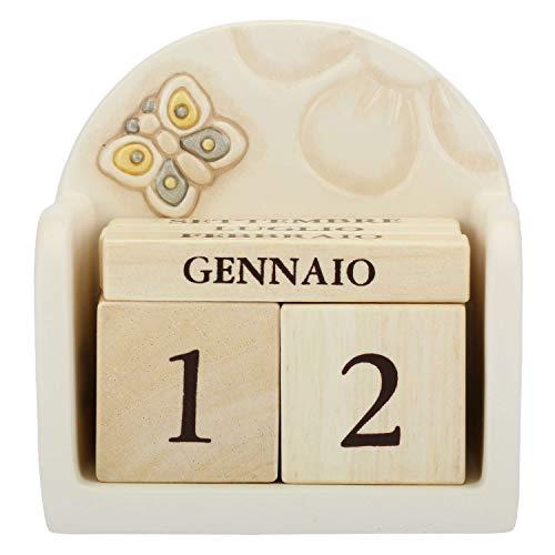 THUN - Calendario Perpetuo in Legno da Tavolo - Base di Ceramica con Farfalla - Linea Elegance