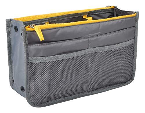 Vercord Purse Organizer Insert for Handbags Bag Organizers Inside Tote Pocketbook Women Nurse Nylon 13 Pockets Grey Medium