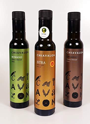 Chiavalon Olivenöl 3er Set. 3 x 250ml. Premium kaltgepresstes natives Olivenöl aus Istrien, Kroatien