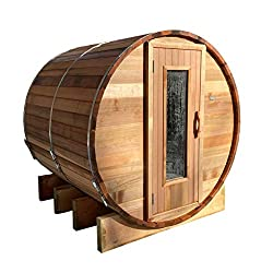 Northern Lights Barrel Sauna With Wood Fired Heater