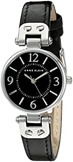 Anne Klein Women's 109443BKBK Silver-Tone Black Dial and Black Leather Strap Watch