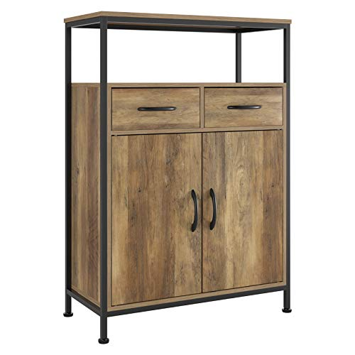 HOMECHO Industrial Storage Cabinet, Floor Cabinet with 2 Fabric Drawers, Sideboard Cupboard with Doors and Shelves, Home Office, Rustic Brown