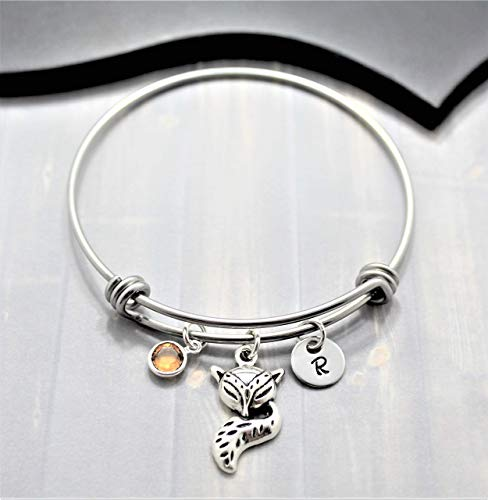 Personalized Fox Bracelet - Fox Animal Jewelry - Fox Lover Gift - Choose Your Initial and Birthstone