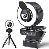 Cámara web AGPTEK Full HD 1080p con anillo de luz, micrófono, trípode, cubierta, cámara de PC, cámara USB para streaming, chat de vídeo, curso en línea, compatible con Windows, Mac