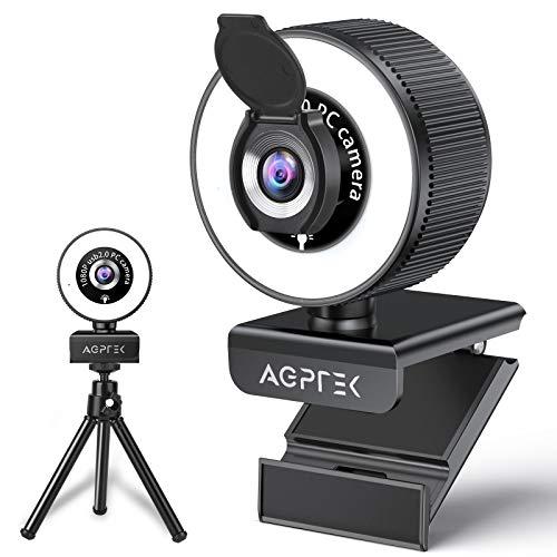 AGPTEK Webcam 1080P con Luce ad Anello 3 Colori,Microfono,Treppiede e Copertura Privacy,USB Webcam per PC MAC Windows,Telecamera PC Laptop Videocamera per Streaming,Videoconferenza Chiamate,Skype,Zoom