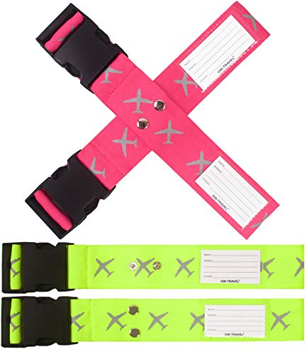 OW-Travel Personalised Luggage Cross Straps for Suitcases. Easy to Spot Sturdy Suitcase Straps. Strap for Luggage Strap for Suitcase. Case Belts. Bag Suitcase Strap Suitcase Belt (2 Pack) Yellow Pink