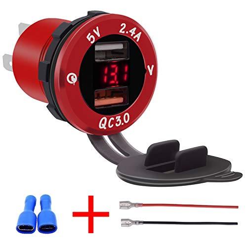 Lidauto Universal autolader voltmeter DC12 V-24 V waterdicht Dual USB 2-poorts stopcontact QC3.0 snel laden van het voertuig
