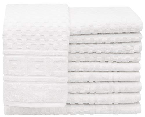 ZOLLNER 10 Asciugamani per Gli Ospiti a Pique, 100% Cotone, ca. 30x50 cm, Bianco