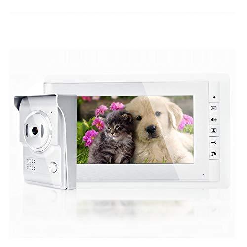 Videoportero 7 Pulgadas Color HD TFT-LCD Video Intercomunicador Timbre Sistema Cámara Doorbell Kit con Visión Nocturna(EU)