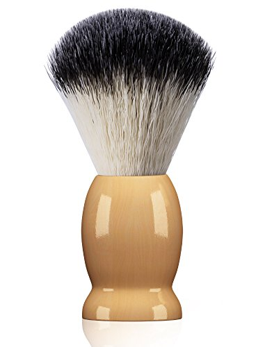 Bassion Hand Crafted Shaving Brush for Men, Professional Hair Salon Tool with Hard Wood Handle Gifts for Men, Perfect Fathers Day Gifts from daughter, wife or Kids.