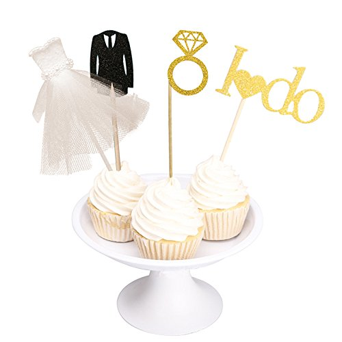 Joinor Glitter I Do Diamond Ring Wedding Dress and Suit Cake Cupcake Toppers Picks for Decorations, Set of 27