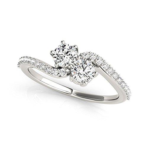14k White Gold Round-cut Two-stone Diamond Ring (1/2 cttw, H-I, SI1-SI2)