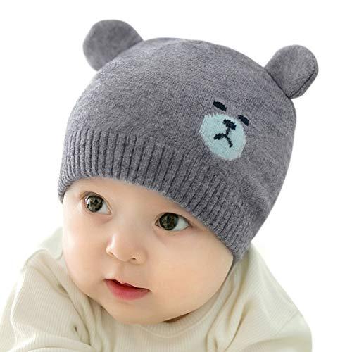 DORRISO Unisexe-bébé Bonnet Enfant Casquette Enfant Printemps Tomber Hiver Garçon Fille Chapeau Bébé Naissance Mignonne Pompon Chapeaux Gris