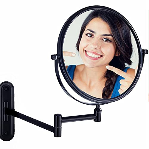 Gecious 8 In Bronze Makeup Mirror Wall Mounted 10X Magnification, Double Sided 360 Swivel for Bathroom Hotel, 13 Inches Extension No Light, Oil Rubbed Bronze Finished