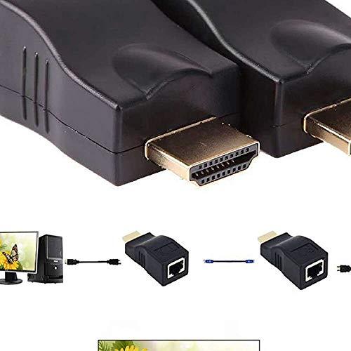 Yuyanshop Extensor HDMI 1080P 30M HDMI a RJ45 Adaptador Convertidor de Cable Extensor de Red Compatible con HDCP Over by Cat5-e/6 Cable Splitter Soporta HDTV HDPC PS4 STB