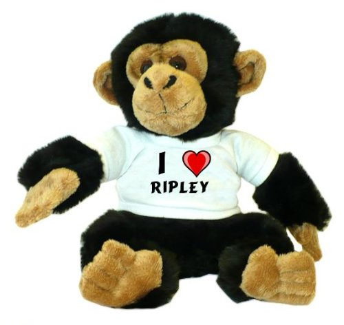 Chimpancé de peluche (juguete) con Amo Ripley en la camiseta (nombre de pila/apellido/apodo)