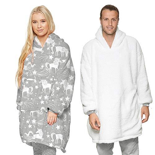 Sudadera reversible con capucha, forro polar sherpa supersuave, de gran tamaño, cálida y cómoda sudadera gigante con bolsillos gigantes, talla única