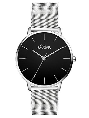 s.Oliver Damen Analog Quarz Armbanduhr mit Edelstahl Armband SO-3529-MQ
