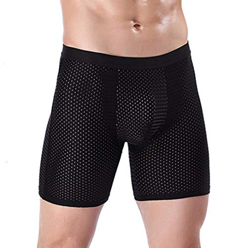 UJUNAOR Herren Underpants Boxershorts Trunks Sport Unterhose Weich dünn Briefs(Schwarz 2,EU M/CN 2XL)