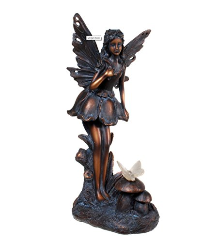 Kremers Schatzkiste Edle Elfe stehend mit Solar Schmetterling auf Pilz Figur Gartenfigur 38 cm Fee Fairy