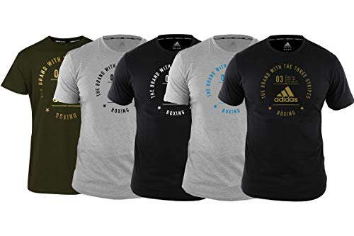 adidas Boxing T-Shirt Men Women Top Gym Training Fitness Workout Adult tee Camiseta de Boxeo para Hombre y Mujer, Negro y Dorado, S