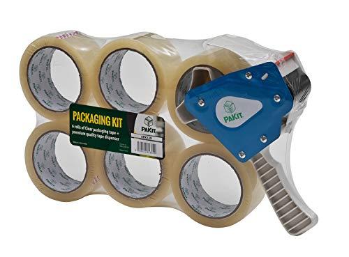 6 St. Paketklebeband mit Abroller Paketband klar durchsichtig stark 50mm Abrollhilfe Verpackungs-Packband Profi Klebeband 50 Micron