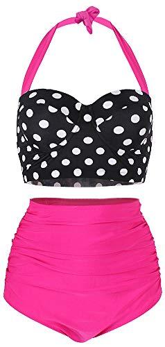 ChayChax Damen Hoher Taille Badeanzug 50er Retro Polka-Punkt Badeanzüge Bademode Zweiteiler Bikini Set Schwimmanzug, Schwarz Punkt + Rose Rot, Größe XL