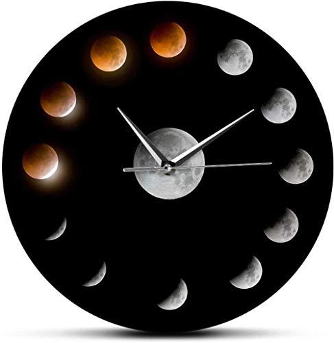Reloj de Pared Serie de Eclipse Lunar Total Fases de la Luna Reloj de Pared Espacio Exterior Ciclo Lunar Reloj de decoración del hogar Reloj Super Luna en el Cielo
