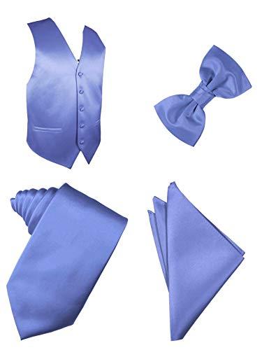 Conjunto de chaleco sólido, corbata, pajarita, juego de pañuelo de 4 piezas, Azul, Large
