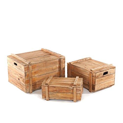 DESIGN DELIGHTS TRUHEN Set Yoya 60 | 3tlg.deko Kisten Set aus Recycling Holz, Massive Holzkisten mit Deckel | Weinkisten Set, Aufbewahrungsboxen aus Holz, stapelbar