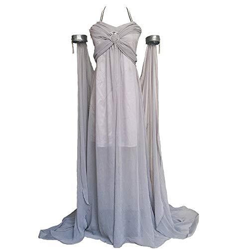 Xfang Women's Chiffon dress Halloween Cosplay Costume Grey Long Train Dress (XS)
