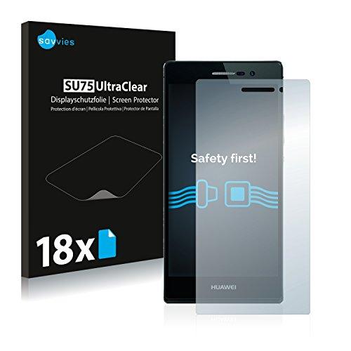 Savvies 18x Schutzfolie kompatibel mit Huawei Ascend P7 Bildschirmschutz-Folie Ultra-transparent