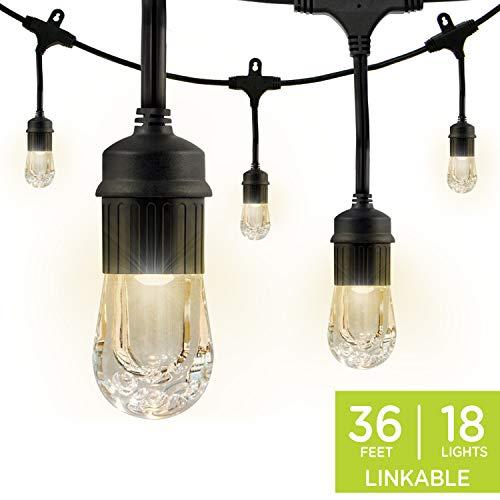 Enbrighten Classic LED Cafe String Lights, Black, 36 Foot Length, 18 Impact Resistant Lifetime Bulbs, Premium, Shatterproof, Weatherproof, Indoor/Outdoor, Commercial Grade, UL Listed, 33171