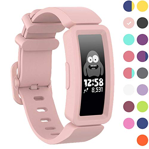 GVFM Compatible with Fitbit Ace 2 Bands for Kids 6+, Soft Silicone Bracelet Accessories Sport Strap Girls Wristbands Compatible for Fitbit Inspire HR & Ace 2 (Light Pink)